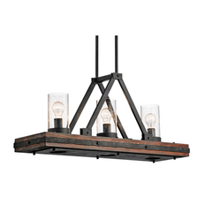 Colerne Linear Chandelier in Aurburn Stained Wood/Distressed Gold, by Kichler, 43433AUB