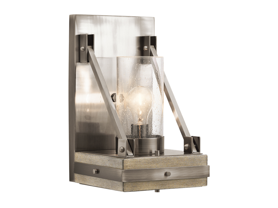 Colerne Wall Sconce in Classic Pewter and Distressed Antique Gray Wood by Kichler 43436AUB