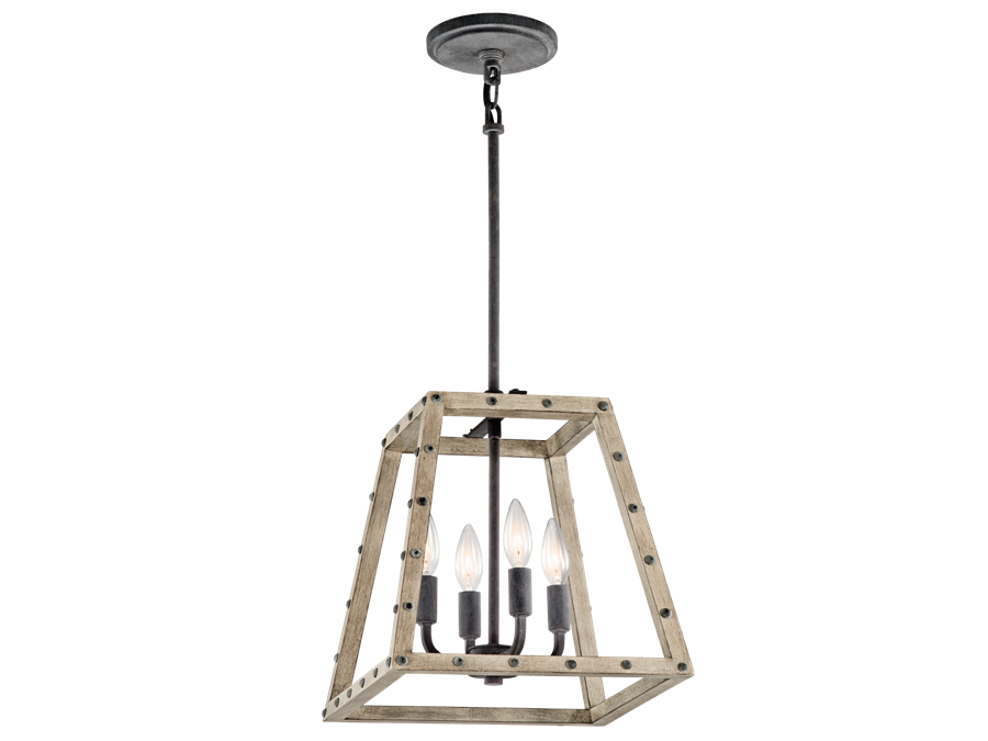 4 Light Weathered Zinc and Distressed Antique Gray Wood Open Cage Basford Pendant by Kichler 43519DAG