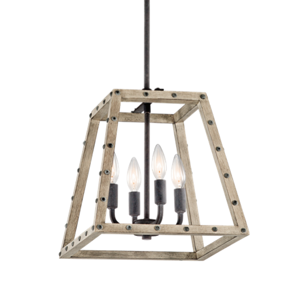 4 Light Distressed Antique Gray Wood Open Cage Basford Pendant in Weathered Wood, by Kicher, 43520DAG