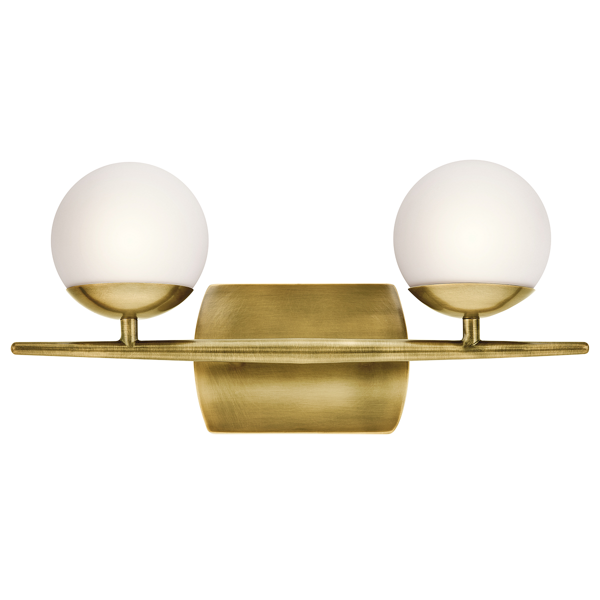 Jasper Vanity 2 Light in Natural Brass by Kichler Lighting ( 45581NBR) | Lighting Connection