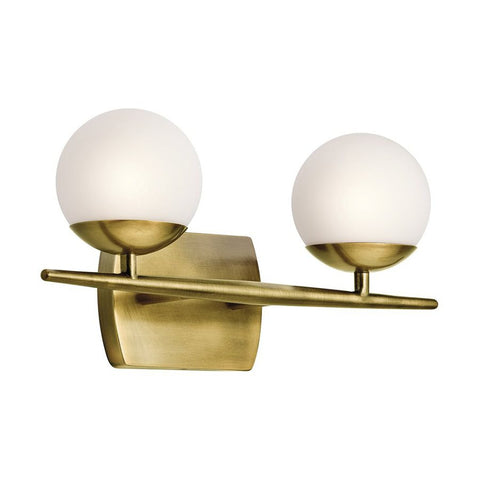 Jasper Vanity 2 Light in Natural Brass by Kichler Lighting (45581NBR) | Lighting Connection