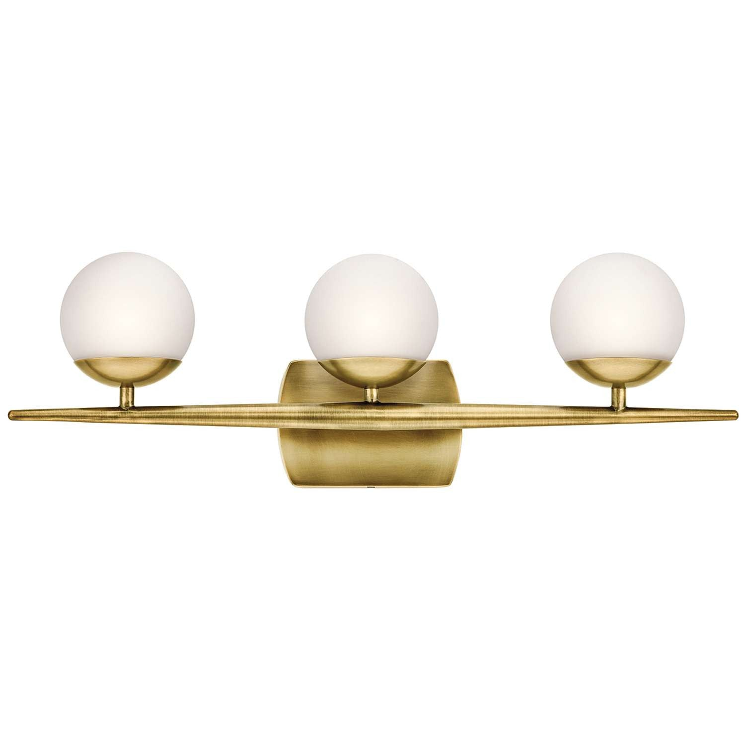 Jasper Vanity 3 Light in Natural Brass by Kichler Lighting ( 45582NBR) | Lighting Connection