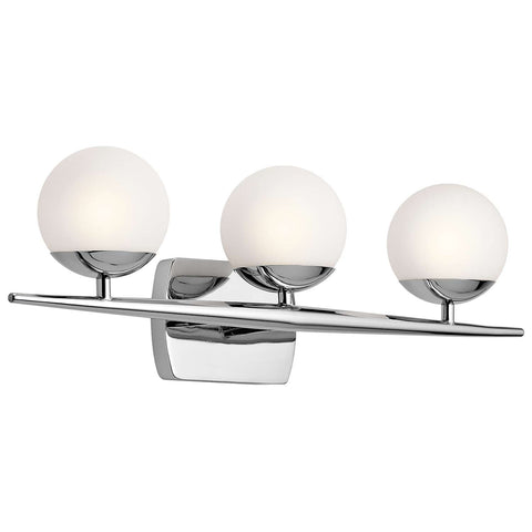 Jasper Vanity 3 Light in Chrome by Kichler Lighting ( 45582CH) | Lighting Connection