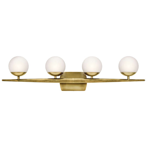 Jasper Vanity 4 Light in Natural Brass by Kichler Lighting ( 45583NBR) | Lighting Connection