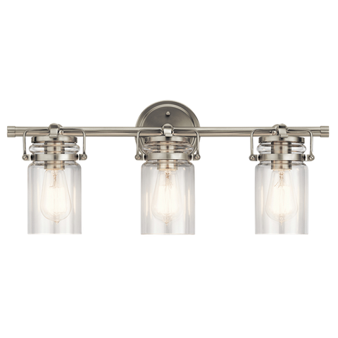 Brinley 3 Light Vanity in Brushed Nickel with Clear Glass Shades by Kichler Lighting 45689NI