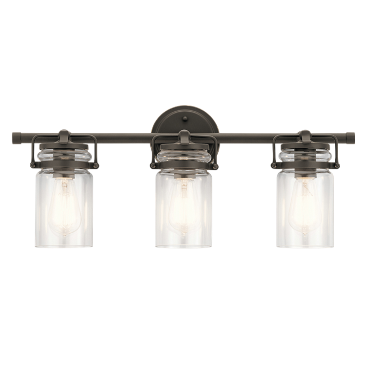 Brinley 3 Light Vanity in Olde Bronze with Clear Glass Shades by Kichler Lighting 45689OZ