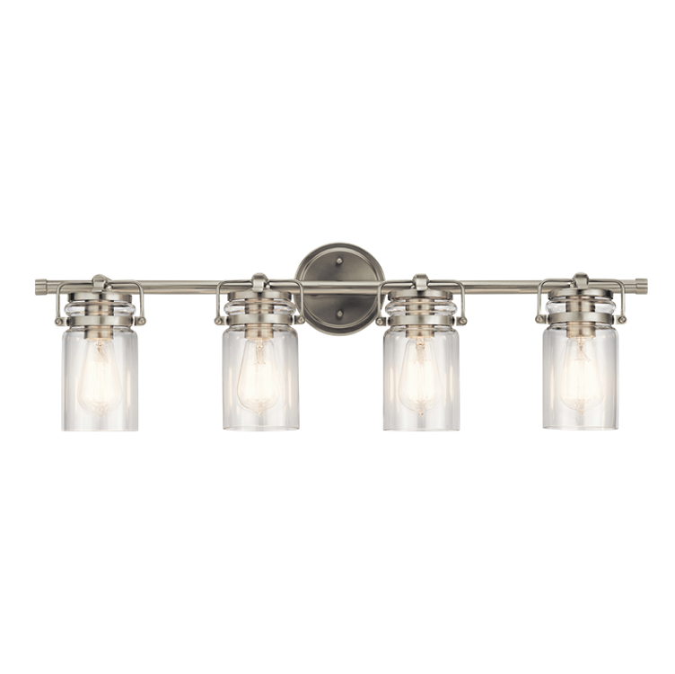 Brinley 4 Light Vanity in Brushed Nickel with Clear Glass Shades by Kichler Lighting 45690NI