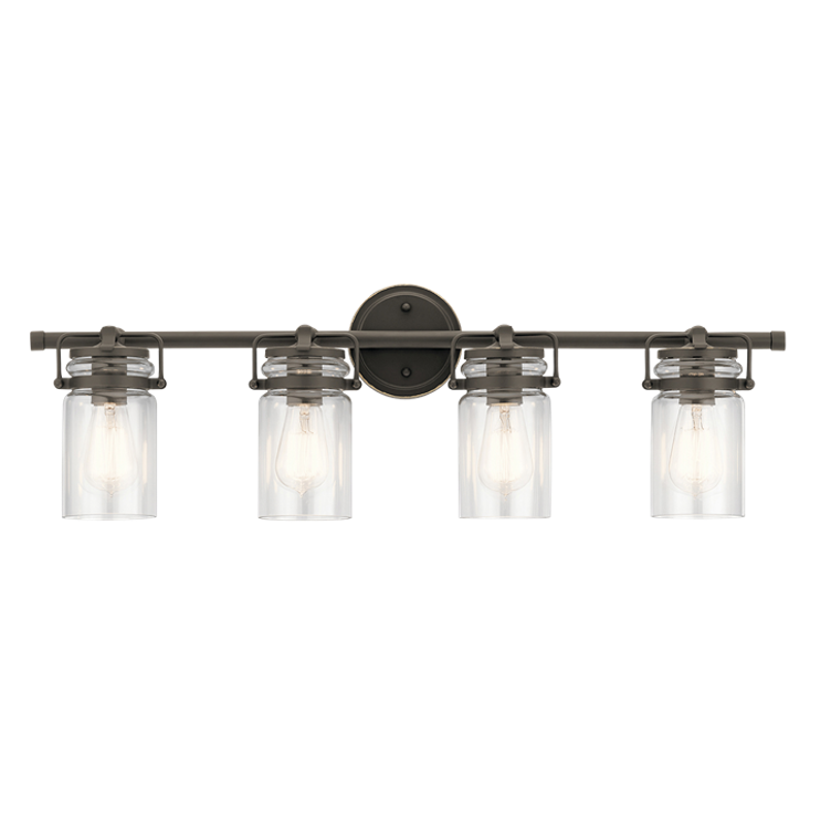 Brinley 4 Light Vanity in Olde Bronze with Clear Glass Shades by Kichler Lighting 45690OZ