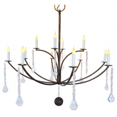 Laurel Bay All Crystal Chandelier in Antique Gold by Low Country Originals,  LCO-043