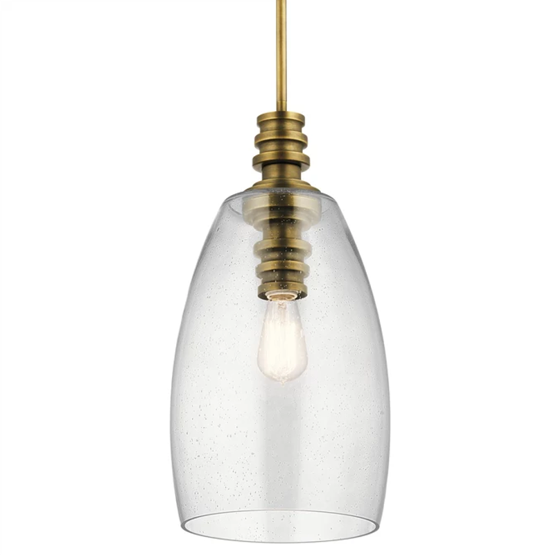 Lakum Pendant by Kichler in Natural Brass with Clear Seedy Glass 43090NBR