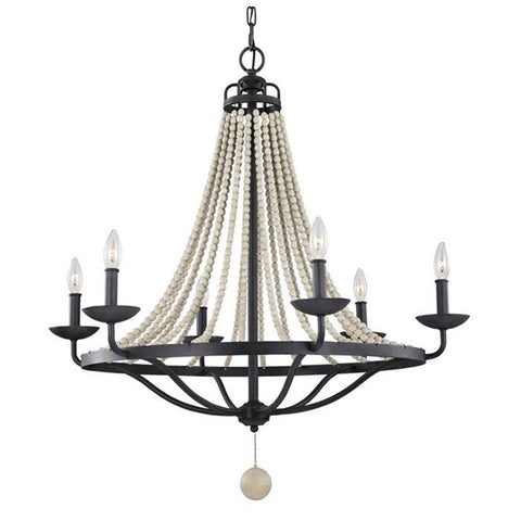 6 Light Nori Chandelier in Dark Weathered Zinc and Driftwood Grey Faux Wood Beads by Feiss F3129/6DWZ/DWG