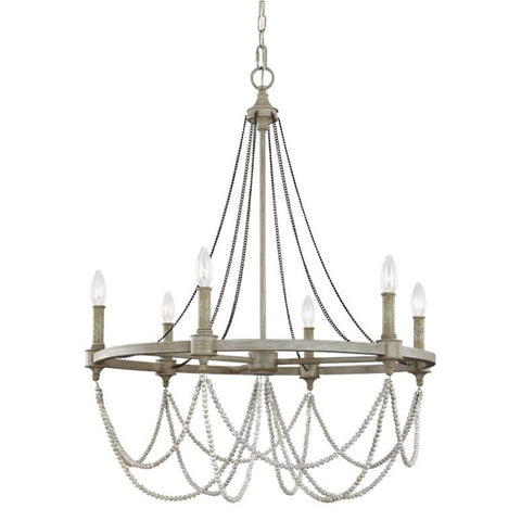 Feiss 6 Light Beverly Chandelier in French Washed Oak and Distressed White Wood F3132/6FWO/DWW