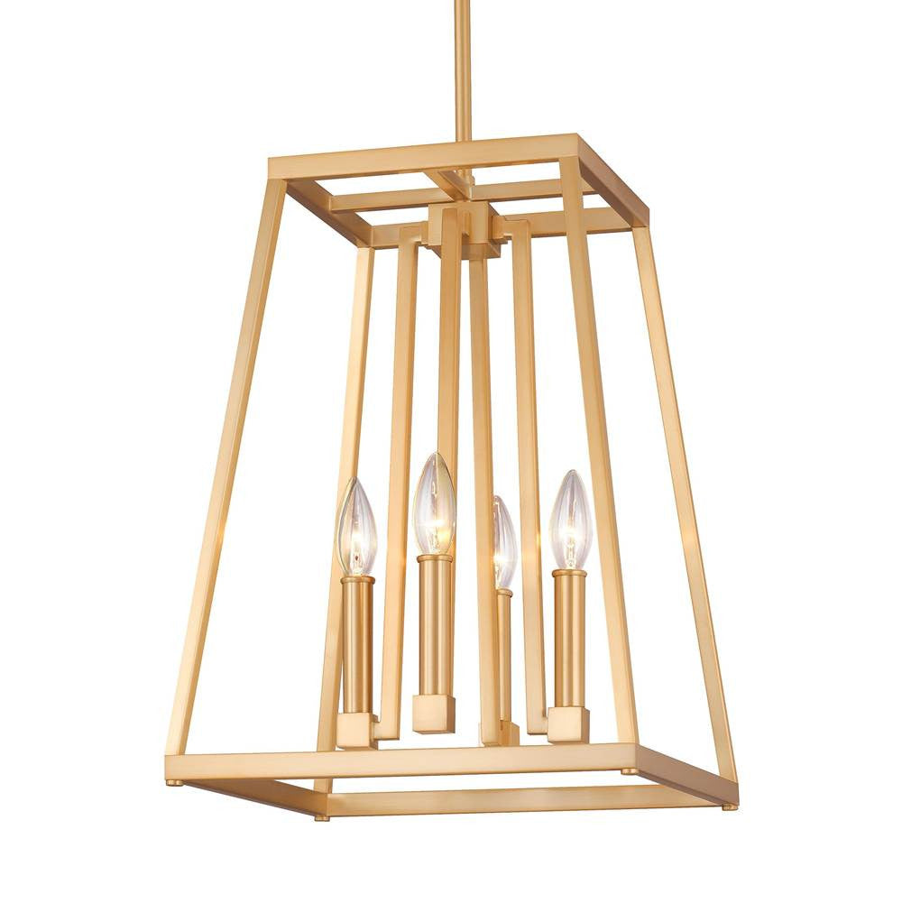 4 Light Conant Lantern Pendant in Gilded Satin Brass by Feiss MF-F3149/4GSB