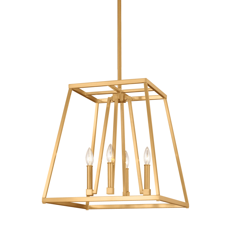 Small 4 Light Conant Chandelier in Gilded Satin Brass by Feiss F3150/4GSB