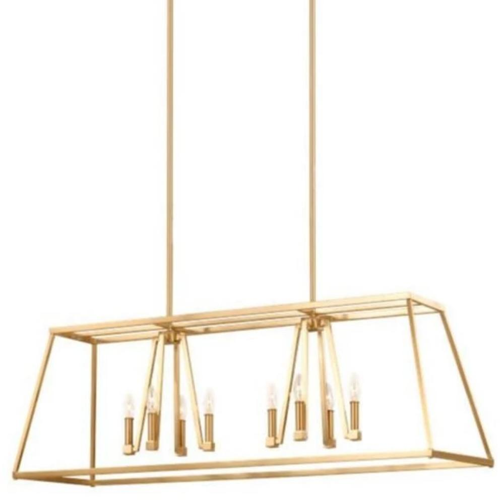 Conant Linear Chandelier in Gilded Satin Brass, by Feiss, F3152/8GSB