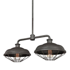 Lennex Linear Chandelier in Slate Grey Metal, by Feiss, F3156/2SGM