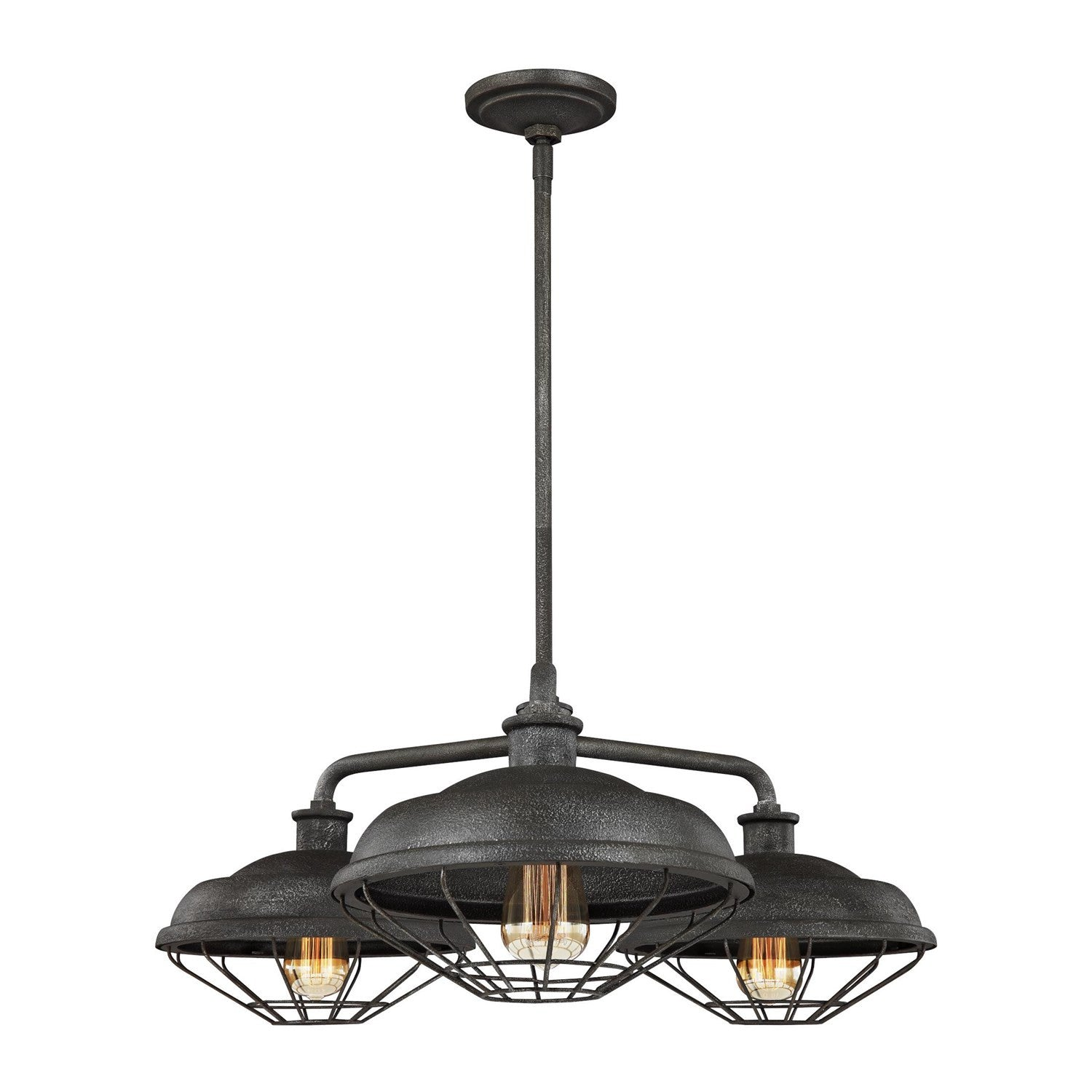 Lennex Chandelier in Slate Grey Metal, by Feiss, F3157/3SGM