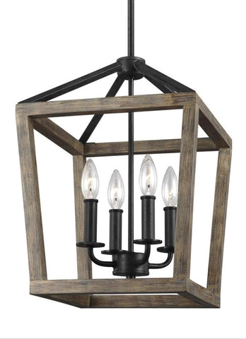 Gannet Chandelier in Weathered Oak Wood / Antique Forged Iron by Feiss, F3190/4WOW/AF
