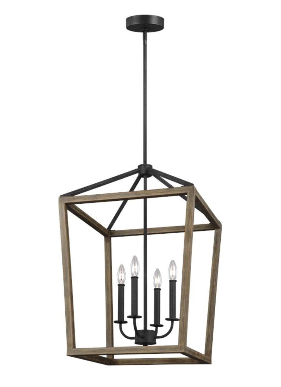 Gannet Chandelier in Weathered Oak Wood / Antique Forged Iron by Feiss, F3191/4WOW/AF