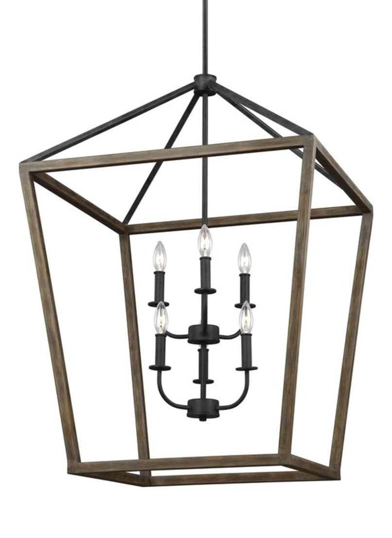 Gannet Chandelier in Weathered Oak Wood / Antique Forged Iron by Feiss, F3192/6WOW/AF