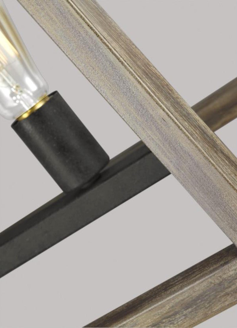 Gannet Linear Chandelier in Weathers Oak Wood / Antique Forged Iron by Feiss, F3193/5WOW/AF