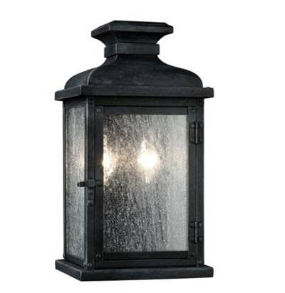 2 Light Pediment Outdoor Sconce in Dark Weathered Zinc by Sea Gull Lighting OL11100DWZ