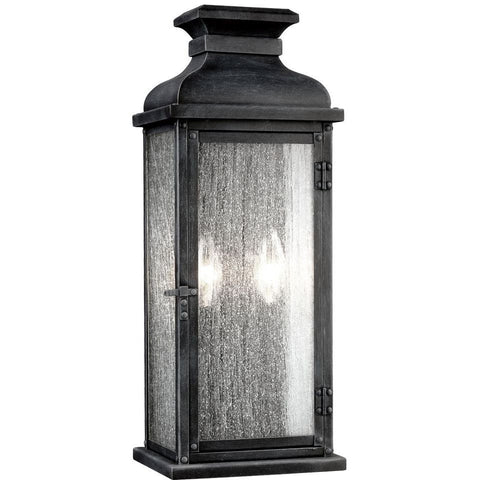 2 Light Pediment Outdoor Sconce in Dark Weathered Zinc by Sea Gull Lighting OL11101DWZ