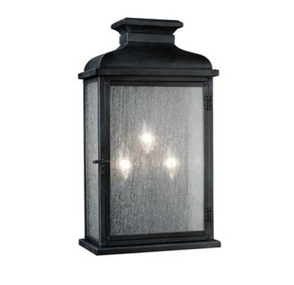 3 Light Pediment Outdoor Sconce in Dark Weathered Zinc by Sea Gull Lighting OL11102DWZ