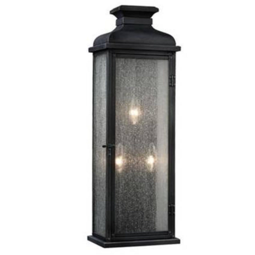 3 Light Pediment Outdoor Sconce in Dark Weathered Zinc by Sea Gull Lighting OL11104DWZ