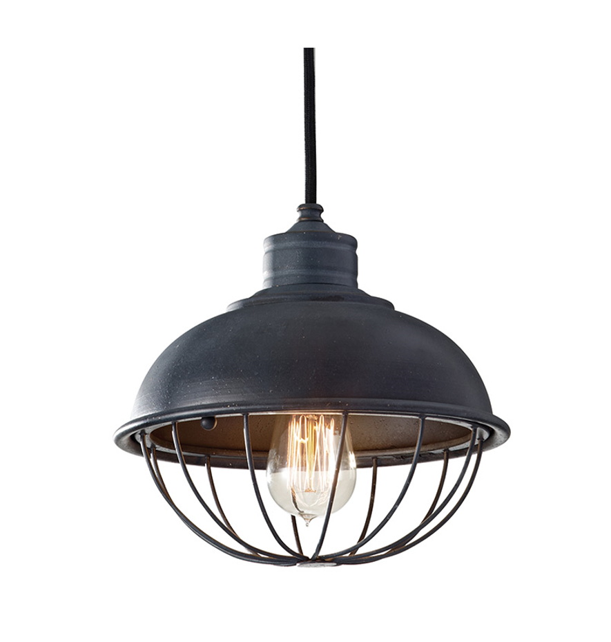 Urban Renewal Industrial Caged Pendant in black Antique Aged Iron finish with Black Cord by Murray Feiss P1242AF