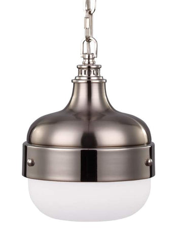 Small Cadence Pendant in Polished Nikel and Brushed Steel by Feiss P1282PN/BS