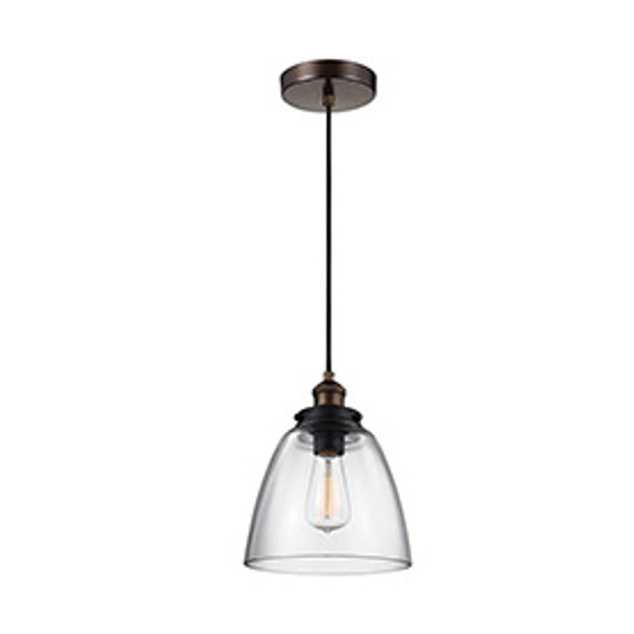 Baskin Pendant in Painted Aged Brass with a Dark Weathered Zinc Finish by Murray Feiss,  P1349PAGB/DWZ