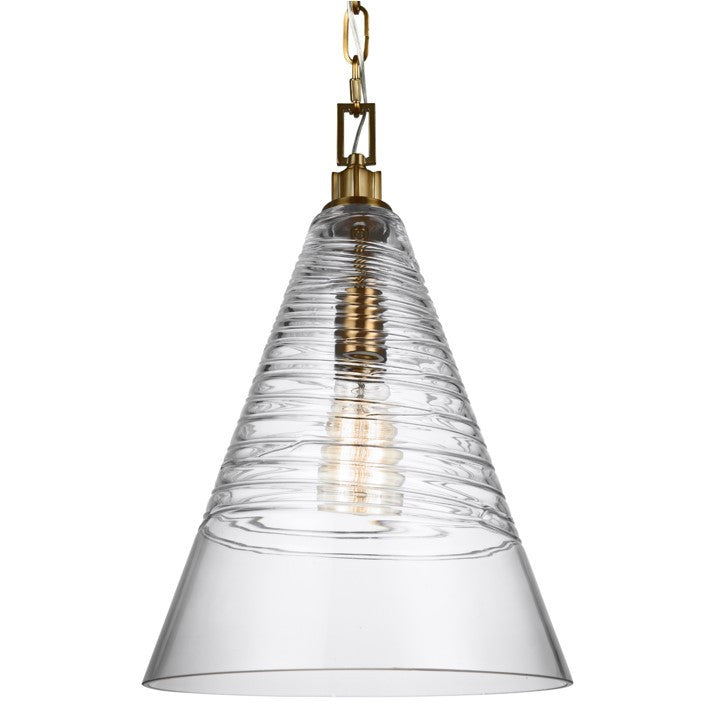 Elmore Cone Pendant in Burnished Brass with Clear Candy Glass Shade by Feiss P1445BBS