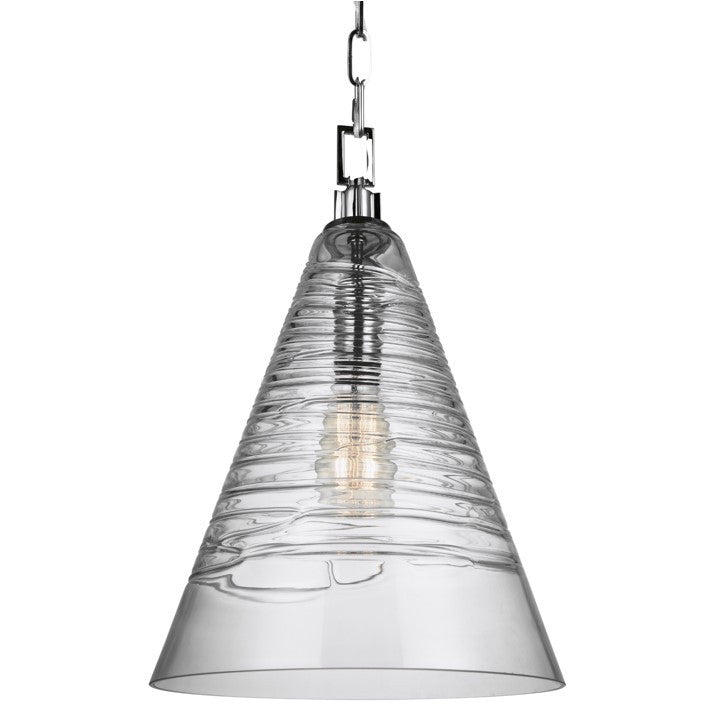 Elmore Cone Pendant in Chrome with Clear Candy Glass Shade by Feiss P1445CH