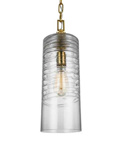 Feiss Elmore Cylinder Pendant in Burnished Brass P1446BBS