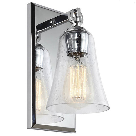 Monterro Bath Light in Chrome with Clear Seeded Bell Glass Shade by Feiss VS24701CH