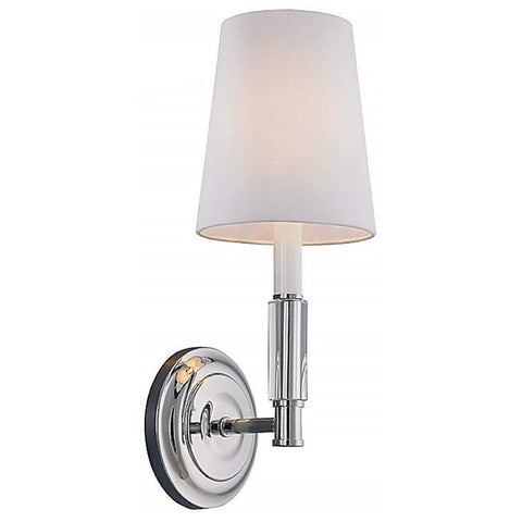 1 Light Lismore Wall Sconce by Feiss in Polished Nickel with Ivory White Fabric Shade WB1717PN