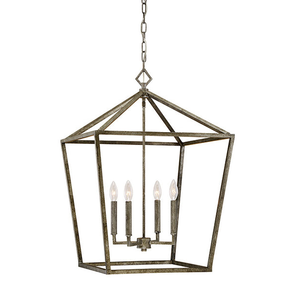 Geometric cage lantern in distressed gold lighting connection aloadofball Gallery