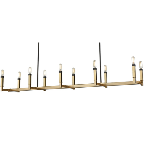 Mandeville 10 Light Linear Chandelier in Satin Brass by Elk Lighting 67758/8