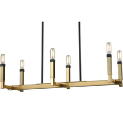 Mandeville 6 Light Linear Chandelier in Satin Brass by Elk Lighting 67757/6