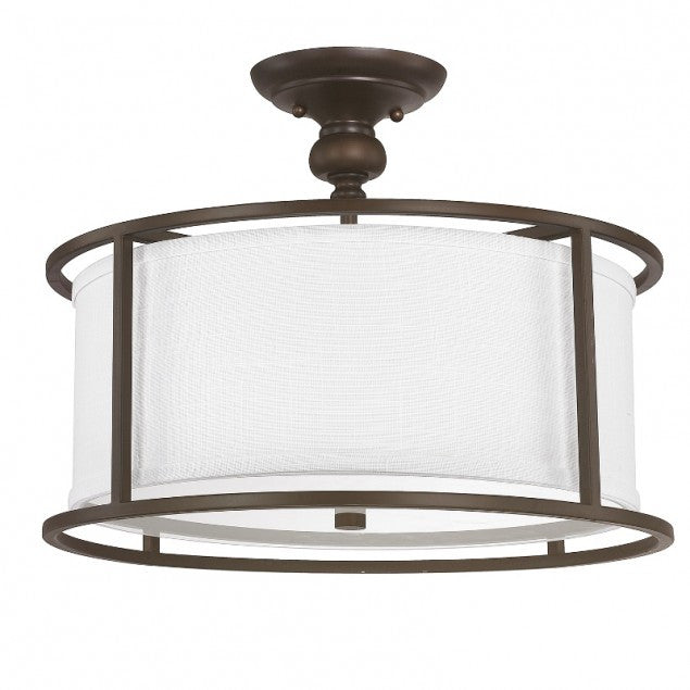 Capital Lighting Midtown Semi Flush Light in Burnished Bronze with white Drum Shade 3914BB-459