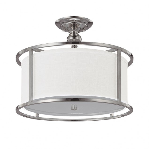 Capital Lighting Midtown Semi Flush Light in Polished Nickel with white Drum Shade 3914PN-459