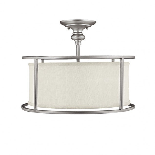 Capital Lighting Midtown Semi Flush Light in Matte Nickel with white Drum Shade 3914MN-459