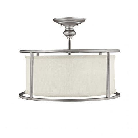 Capital Lighting Midtown Semi Flush Light in Matte Nickel with white Drum Shade 3914MN