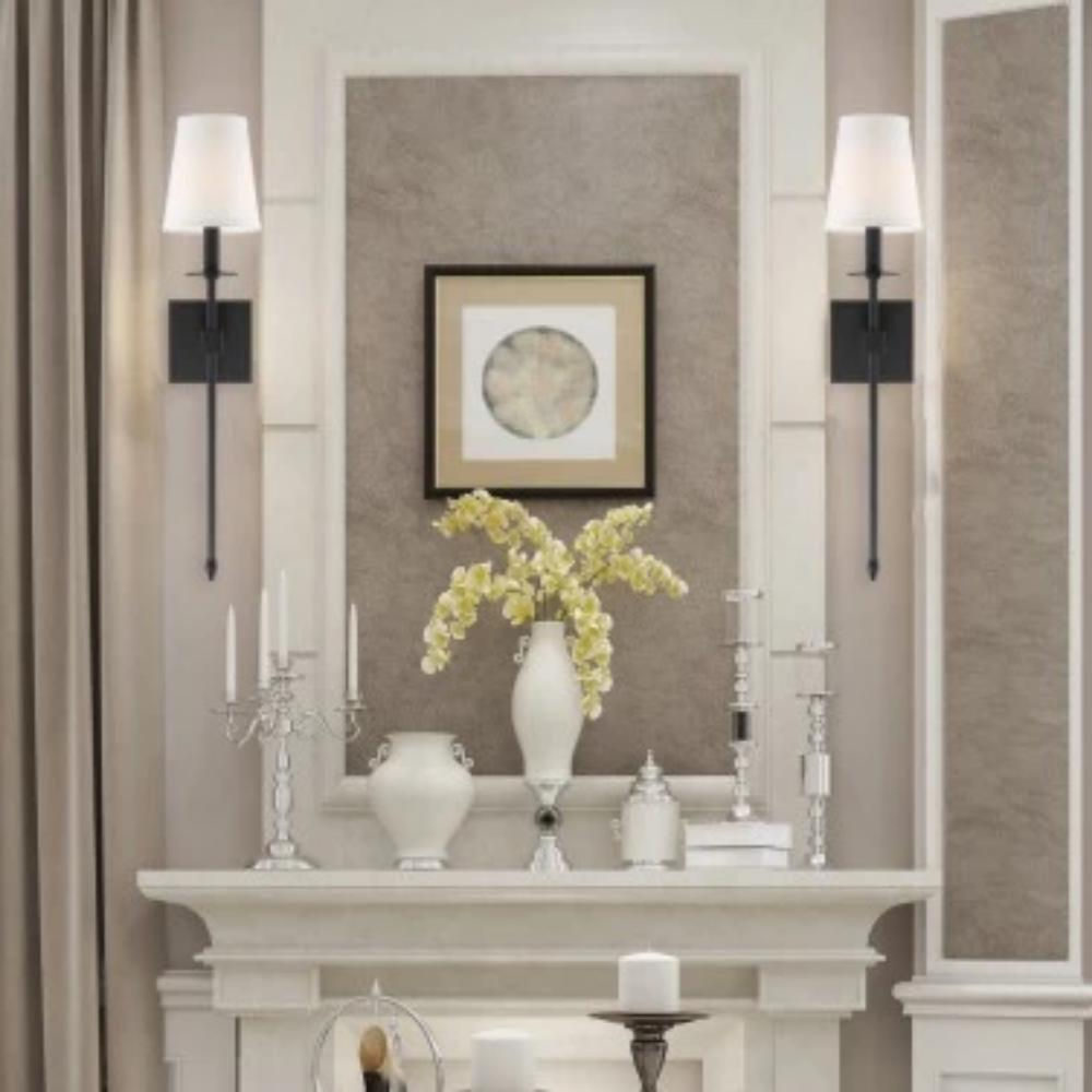 Lifestyle Shot of Monroe Sconce, 1-Light Wall Sconce, Classic Bronze, White Fabric Shade