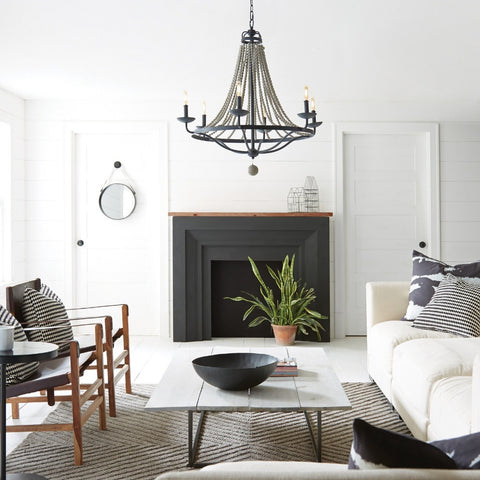 4 Light Nori Chandelier in Dark Weathered Zinc and Driftwood Grey Faux Wood Beads by Feiss F3187/4DWZ/DWG