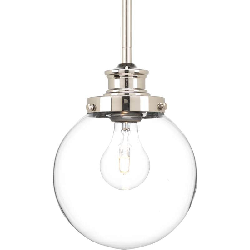 Penn Clear Glass Globe in Polished Nickel by Progress Lighting P5067-104