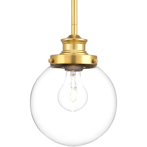 Penn Clear Glass Globe in Natural Brass by Progress Lighting P5067-137