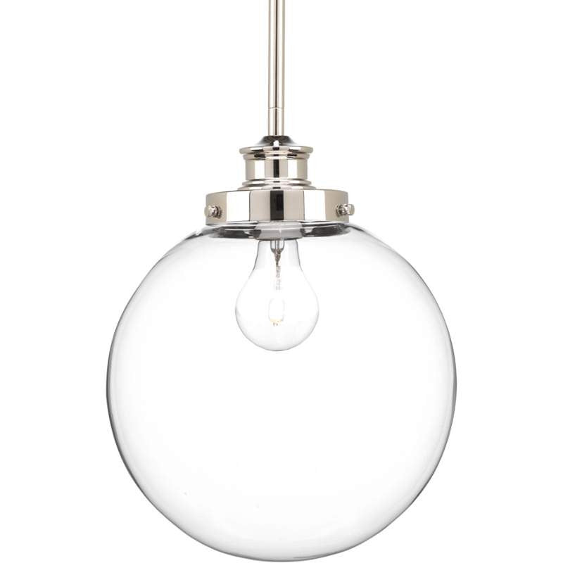 Penn Clear Glass Globe in Polished Nickel by Progress Lighting P5070-104
